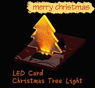 2015 New Christmas Decoration Pocket Folding Xmas Tree Shape LED Light Credit Card E1IT