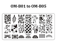 5pcs Rectangular Nail Stamping Plates Flower Lace Design Art Polish Stamp Template (OM-B01 to OM-B05)