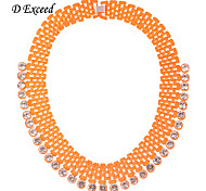 D exceed New Chunky Orange Multi Layer Rope Neckalce with Crystals Inlaid Women Fashion Jewelry