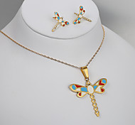 European and American fashion titanium steel Gold Enamel Dragonfly Earrings Necklace Set