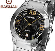 EASMAN Men's Sapphire Dial Round Shape Stainless Steel Swiss Movement Quartz Watch Gold Wristwatch