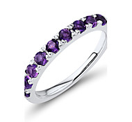 Women's Classic Sterling Silver set with Amethyst Band Ring