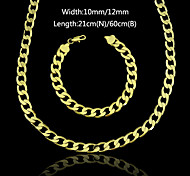 18K Real Gold Plated Figaro Chain Necklace+Beacelet Jewelry Set 10MM/12MM Width