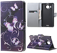 Purple Butterfly  Wallet PU Leather Stand Case for  Microsoft Nokia Lumia 950XL N950XL