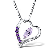 Women's Fashion Sterling Silver set with Amethyst and Diamond Heart Shape Pendant with Silver Box Chain
