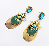 European Style Fashion Gemstone Water Droplets Earrings
