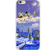 Christmas Log Cabin Pattern Embossed Material Transparent TPU Phone Case for iPhone 6Plus/6SPlus