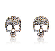 Stud Earrings Crystal Rhinestone Silver Plated Gold Plated Fashion Skull / Skeleton Silver Golden Champagne JewelryParty Halloween Daily