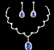Lucky Doll 925 Silver Plated Gemstone & Crystal Zirconia geometry Water DropTassel Necklace & Earrings Jewelry Sets