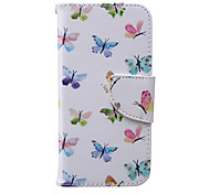 Colorful Butterfly Pattern PU Leather Full Body Cover with Stand for iPhone 6/iPhone 6s