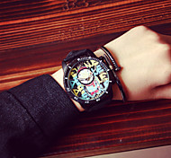 Korea Vintage Graffiti Women Watch Men Analog Quartz Wrist Dress Watch Student Watch  Lovers Watches(Assorted Colors)