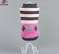 Cat / Dog Coat / Sweater Pink Winter Stripe Wedding / Cosplay / Christmas / Holiday / New Year's