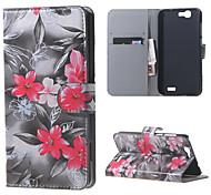fleurs rouges en cuir magnétique cas de couverture de livre portefeuille de sac à main pour Huawei Ascend bascule g7