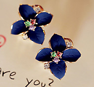 Fashion Crystal Drops Of Oil Flower  Earring(Assorted Color)