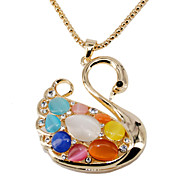 18 k Gold Plating, Artificial Opal, Crystal Material Is Qualitative, The Swan Model Necklace
