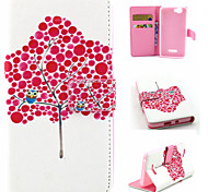 Red Tree Pattern Flip Card Leather Phone Case for Wiko RAINBOW