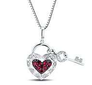 Women's Fashion (Heart Shape with Key) Sterling Silver set with Created Ruby and Zircon Pendant with Silve Box Chain