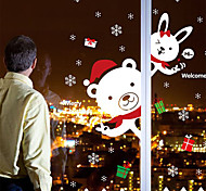 Merry Christmas White Lovely Bear PVC Wall Sticker Wall Decals