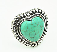 Vintage Look Antique Silver Love Heart Honey Gift Turquoise Stone Adjustable Free Size Ring(1PC)