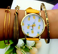 Tropical Fruit Pineapple Watch Vintage Style Leather Bracelet Women Watches Cool Watches Unique Watches
