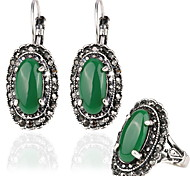 Emerald Palace Retro Luxury Jewelry Sets  Earrings +Ring (3pcs)