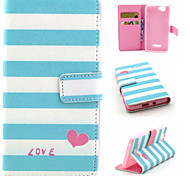 Stripe Pattern Flip Card Leather Phone Case for Wiko RAINBOW