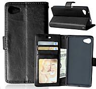 PU cuir carte portefeuille titulaire reposer le couvercle rabattable avec étui de cadre photo pour Sony Xperia Z5 compacts (couleurs