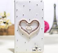 amor diamante hecho a mano de la PU cuero caso de cuerpo completo con pie de apoyo para el Samsung Galaxy Note 2/3/4/5