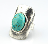Vintage Antique Silver Oval Turquoise Amethyst Tiger Stone Adjustable Free Size Ring(1PC)