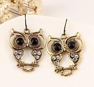 Vintage Wholesale Women Rhinestone Owl Drop Earring