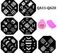 - Finger / Zehe - Andere Dekorationen - Metall - 10pcs nail plates+ 1set nail stamper and scraper Stück - 6.0cm for dia cm
