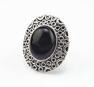 Vintage Antique Silver Oval Turquoise Amethyst Stone Adjustable Free Size Ring(1PC)