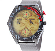 Men Vintage Map Dual Analog Time Steel Band Quartz Watch