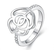 Hollow Flower White Silver-Plated Statement Rings(White)(1Pcs)