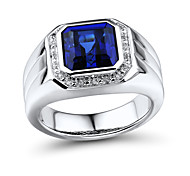 Men's Classic Sterling Silver set with Create Sapphire and Natural Diamond Ring
