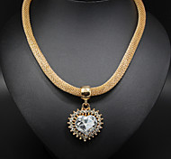 Women's Statement Necklaces Crystal Alloy Heart Gold Jewelry