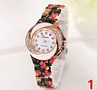 Fashion Women Watches Geneva Printing Crystal Quartz Watches