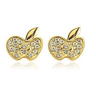 Fashion Drill Apple Alloy Stud Earrings