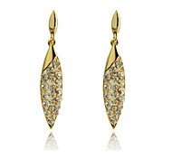 Korean  Fashion  Drill Frondesce Gold Plating Earrings