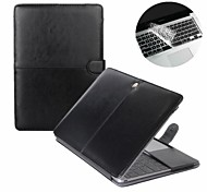 Fashion 2 in 1  PU Leather Laptop Case Cover For Macbook Pro  13/15 inch + Transparent Keyboard Cover Protecter