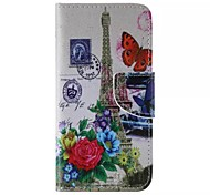 Flower and the Eiffel Tower Pattern Cell Phone Leather For iPhone 6/6S