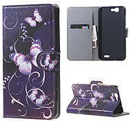 Purple Butterfly Magnetic Leather Wallet Handbag Book Cover Case For Flip Huawei ascend G7