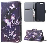 Purple Butterfly cuir magnétique cas de couverture de livre portefeuille de sac à main pour Huawei Ascend bascule g7