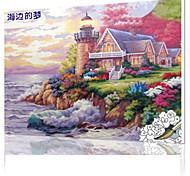 DIY цифровой живописи маслом кадр картины семейного отдыха все сам приморский вилла x5005