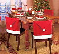 6pcs 2015 nova moda cadeira papai noel chapéu vermelho volta cobrir casa natal jantar tabela decoração de festa para o Natal