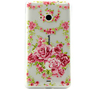 Chinese Rose Pattern TPU Phone Case For Nokia Lumia N535