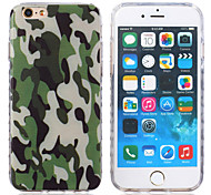 New Green Camouflage Pattern Waves Slip Handle TPU Soft Phone Case for iPhone 6/6S