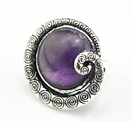 Vintage Antique Silver Lava Amethyst Turquoise Tiger Stone Snail Adjustable Free Size Ring(1PC)