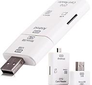 2 en 1 Micro USB et USB 2.0 OTG carte kit de connexion du lecteur avec fente pour carte TF sd - blanc