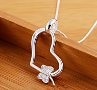 925 Silver Heart Butterfly Pendant Necklaces Wedding/Party/Daily/Casual 1pc